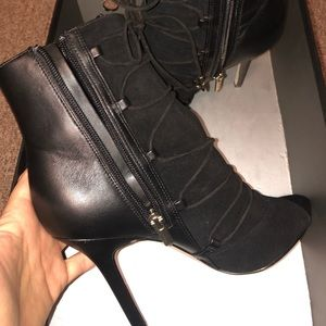 Sam Edelman lace up open toe boots